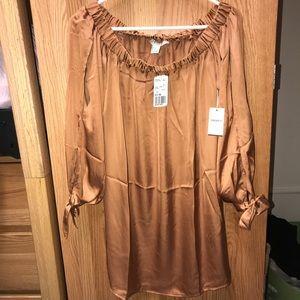 NWT Copper Off-The-Shoulder Dress